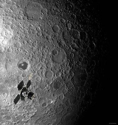 Lunar Orbiter Over The Moon Poster by Detlev Van Ravenswaay