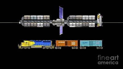 Lunar Space Elevator And Train, Artwork Poster by Walter Myers