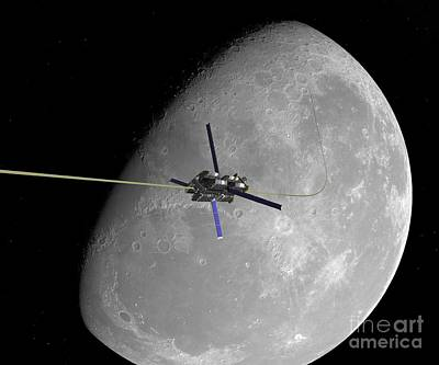 Lunar Space Elevator Ascent, Artwork Poster by Walter Myers