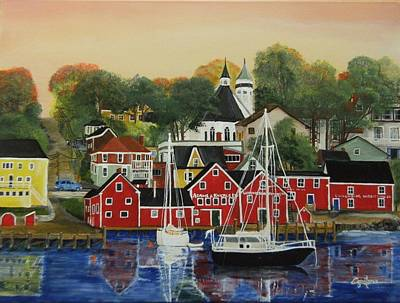 Lunenburg Nova Scotia A Touch Of Fall Poster by Connie Rowsell