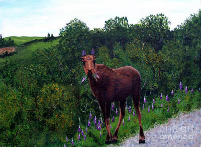 Poster featuring the painting Lupine Loving Moose by Barbara Griffin