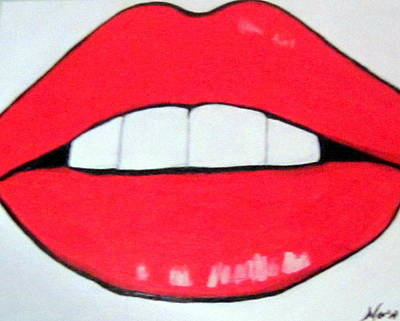 Poster featuring the painting Luscious Lips by Nora Shepley