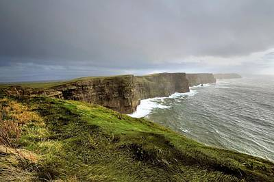 Lush Grass At Cliffs Of Moher In Ireland Poster
