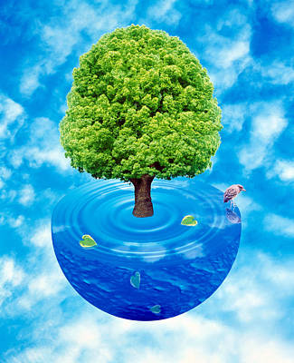 Lush Green Tree Growing From Half Poster by Panoramic Images