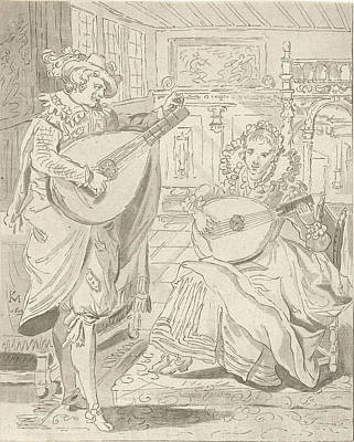 Lute Playing Lord And Lady, Cornelis Ploos Van Amstel Poster by Quint Lox