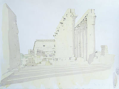 Luxor Temple Wc On Paper Poster by Charlie Millar