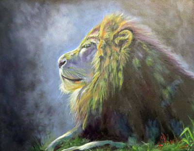 Lying In The Moonlight, Lion Poster by Sandra Cutrer