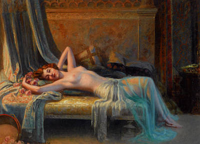 Lying Nude In A Bed Of Roses Poster by Delphin Enjolras