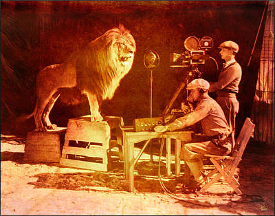 M G M Filming Of Leo The Lion Production Logo 1917 To 1928 Poster by Douglas MooreZart
