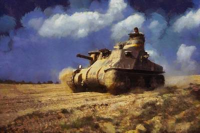 Poster featuring the painting M3 Lee Tank by Kai Saarto