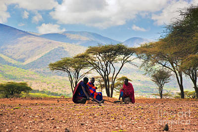 Maasai Men Sitting. Savannah Landscape In Tanzania Poster by Michal Bednarek