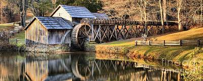 Mabry Grist Mill Fall Panorama Poster by Adam Jewell