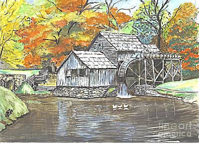 Poster featuring the painting Mabry Grist Mill In Virginia Usa by Carol Wisniewski