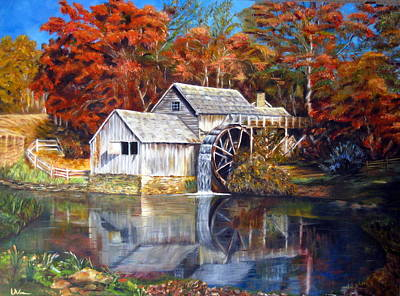 Poster featuring the painting Mabry Mill Blue Ridge Virginia by LaVonne Hand