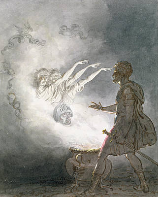 Macbeth And The Apparition Of The Armed Head, Act Iv, Scene I, From Macbeth, By William Shakespeare Poster by William Marshall Craig