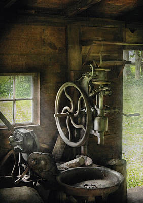 Machine Shop - An Old Drill Press Poster by Mike Savad