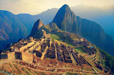 Machu Picchu Late Afternoon Sunset Poster