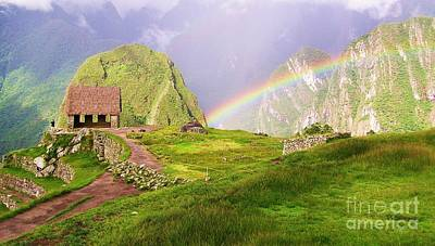 Machu Picchu Rainbow Poster by Michele Penner