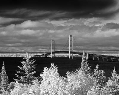 Macinac Bridge - Infrared Poster by Larry Carr