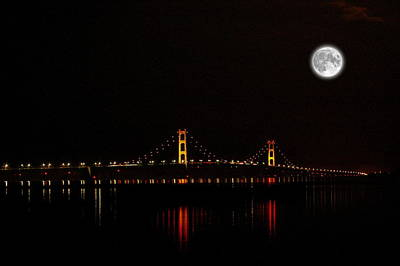 Mackinac Bridge And Moon Poster by Randy Pollard