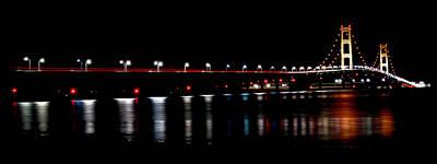 Mackinac Bridge At Night Poster by Michael Donahue
