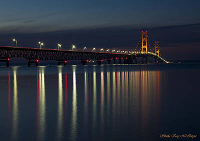 Mackinac Bridge At Night Poster