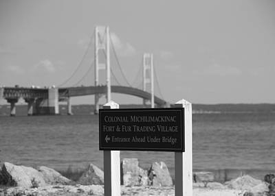 Mackinac Bridge Black And White Poster