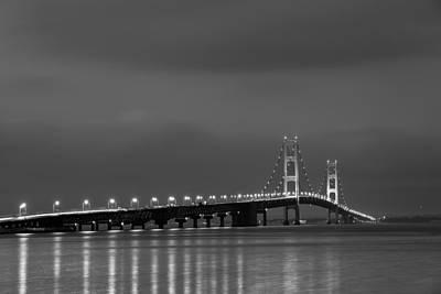 Mackinac Bridge Black And White Poster by Sebastian Musial