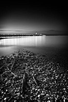 Mackinac Bridge Bw Poster by Larry Carr