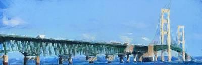 Mackinac Bridge Panorama Painting Poster by Dan Sproul