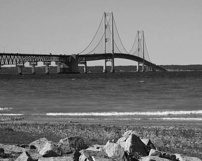 Poster featuring the photograph Mackinaw Bridge Black And White by Bill Woodstock