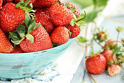 Macro Of Fresh Strawberries  Poster by Stephanie Frey