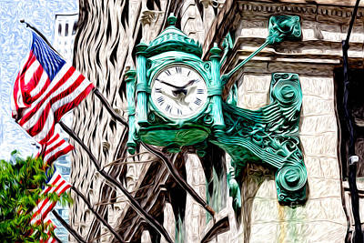Macy's Clock In Chicago Poster by Paul Velgos
