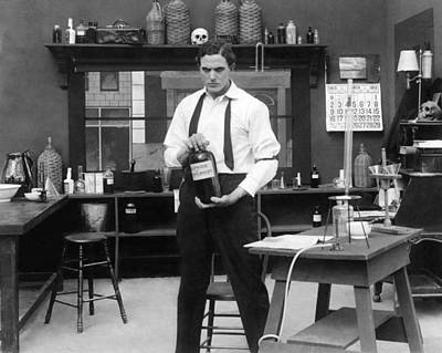 Mad Scientist In His Lab Poster by Underwood Archives