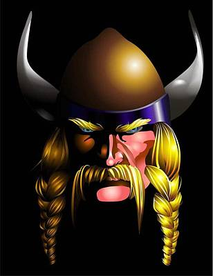 Poster featuring the digital art Mad Viking by P Dwain Morris