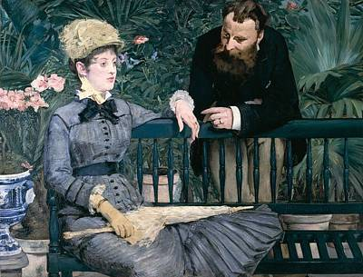 Madame Manet In Greenhouse Poster by Edouard Manet