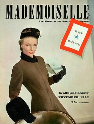 Mademoiselle Cover Featuring A Model As A War Poster by Robert Weitzen