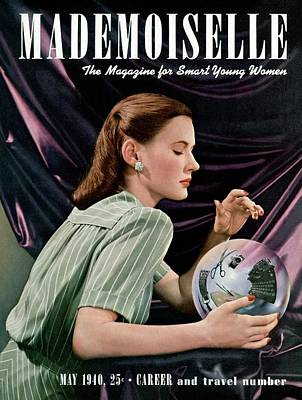 Mademoiselle Cover Featuring A Model Gazing Poster by Paul D'Ome