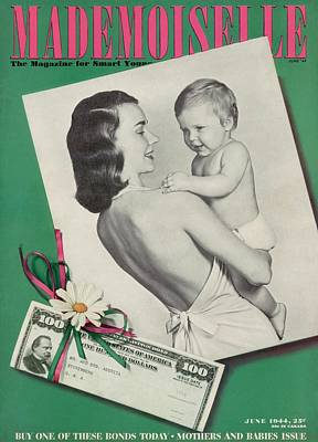 Mademoiselle Cover Featuring A Mother Holding Poster by Fernand Fonssagrives
