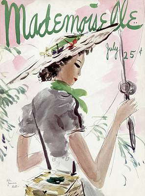Mademoiselle Cover Featuring A Woman Holding Poster by Helen Jameson Hall