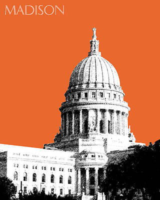 Madison Capital Building - Coral Poster by DB Artist