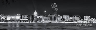 Madison - Wisconsin -  New Years Eve Panorama Black And White Poster by Steven Ralser