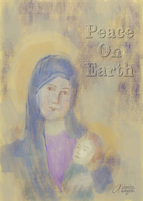Poster featuring the digital art Madonna And Child by Arline Wagner