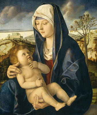 Madonna And Child In A Landscape Poster by Giovanni Bellini