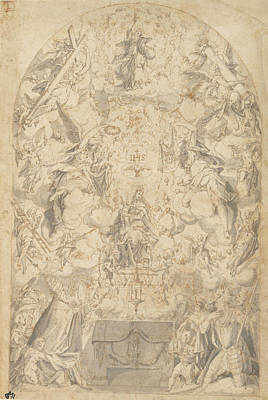 Madonna And Child With Angels Bearing Symbols Poster