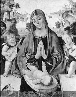 Madonna And Child With Angels Poster by Bernardino da Genoa
