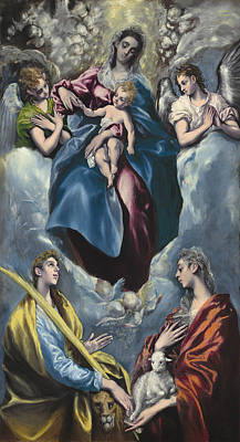 Madonna And Child With Saint Martina And Saint Agnes Poster by Celestial Images