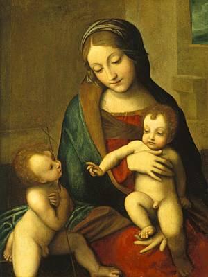 Madonna And Child With The Infant Saint John Poster by Antonio Allegri Correggio