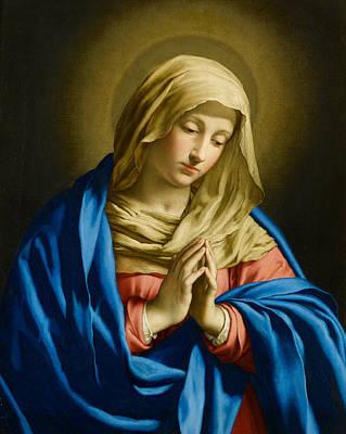 Madonna At Prayer Poster by Giovanni Battista Salvi
