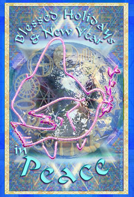 Madonna Dove Chalice And Logos Over Globe Holiday Art With Text Poster by Christopher Pringer